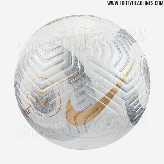 Se filtró el balón de los ganadores del título de la Premier League 2021 de Nike Blanco/Oro.