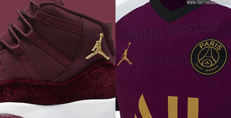 "Tercera Camiseta del PSG 20-21 hecha por Jordan Inspirado Air Jordan 11 ""Terciopelo Rojo"""